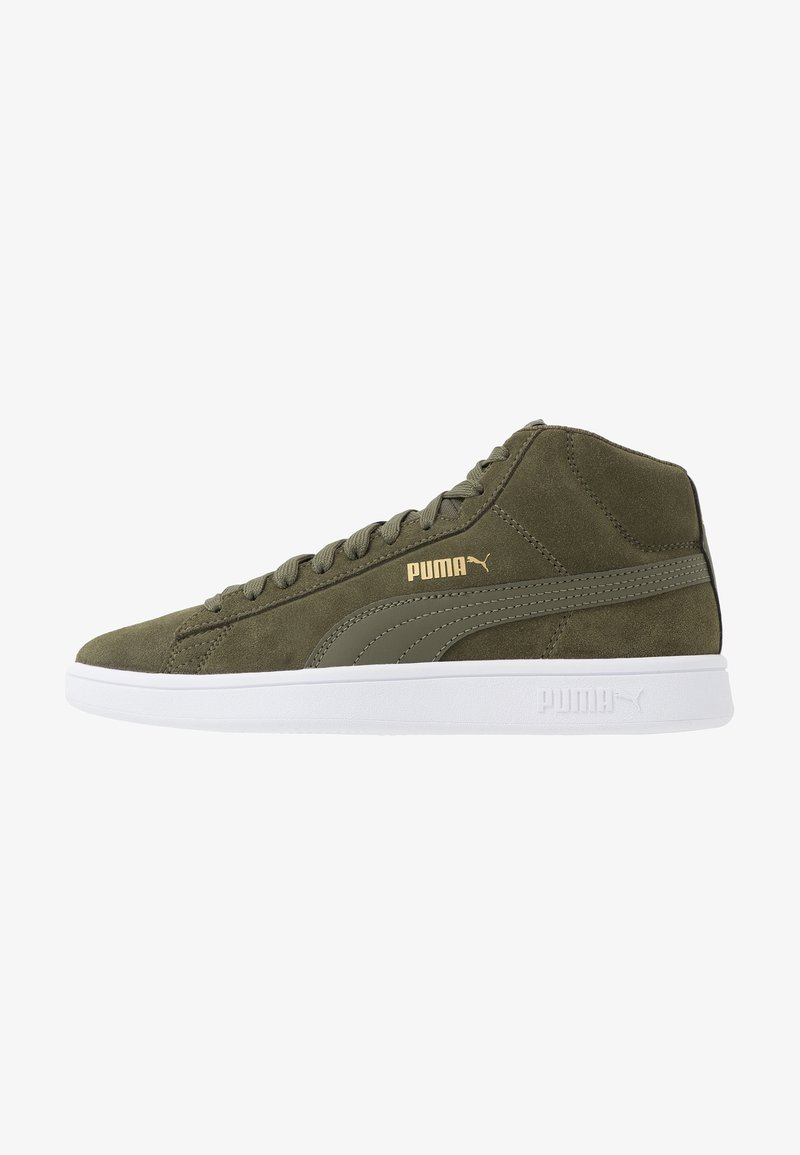 Puma - SMASH V2 MID - Höga sneakers - forest night/team gold/white/black