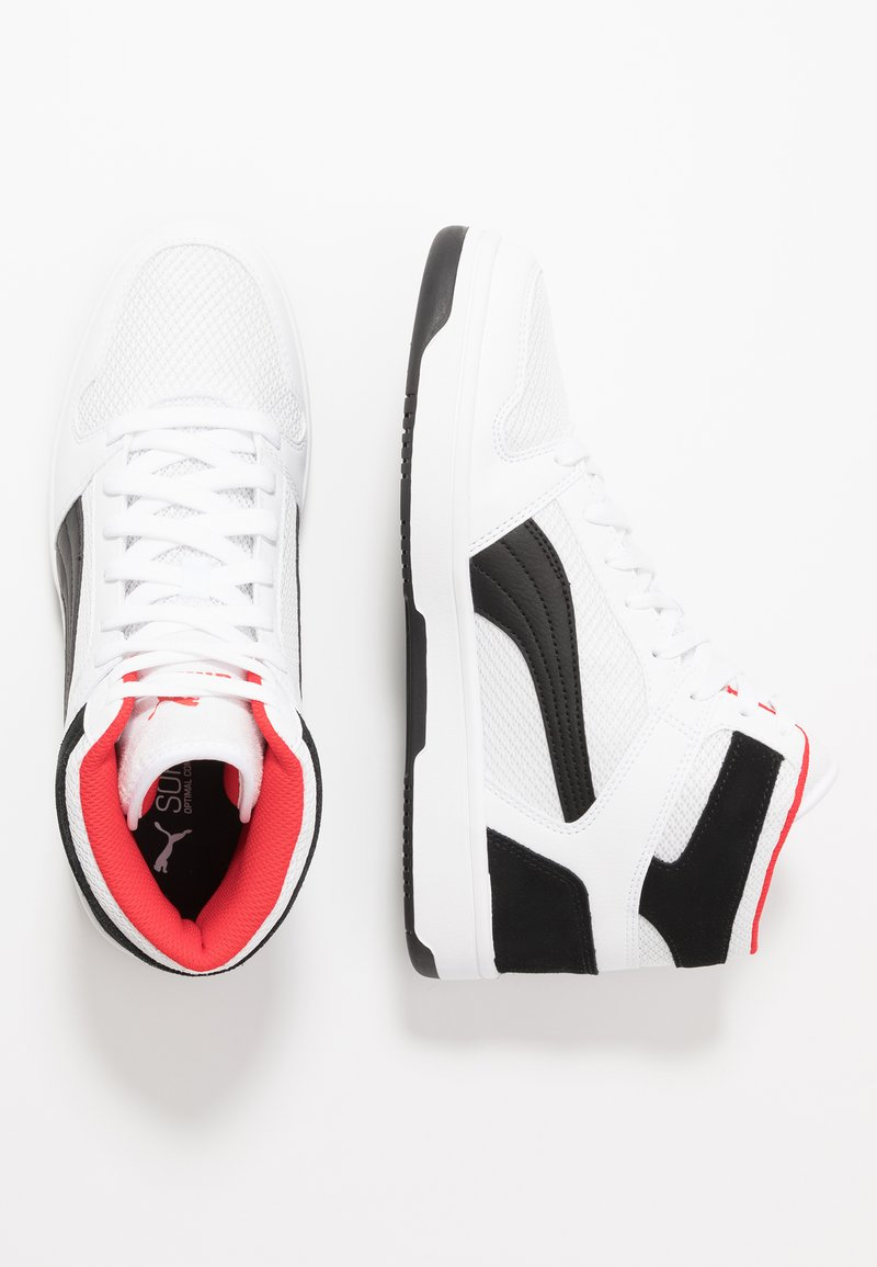 Puma - REBOUND LAYUP - High-top trainers - white/black/high risk red