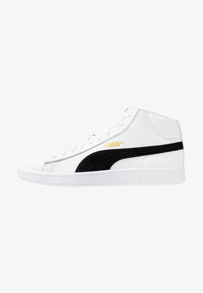 Puma - SMASH MID - Sneakersy wysokie - white/black/team gold/high rise