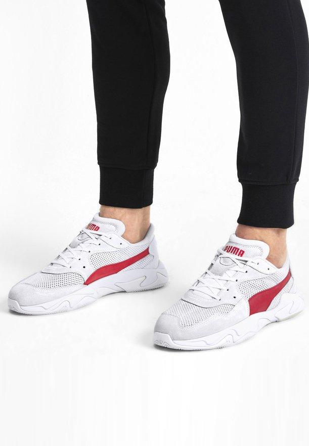 Puma - STORM STREET - Baskets basses - white/high risk red
