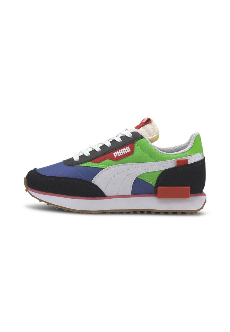 Puma - PUMA FUTURE RIDER PLAY ON YOUTH TRAINERS UNISEX - Trainers - pumab-fluogreen-dazzlingblue