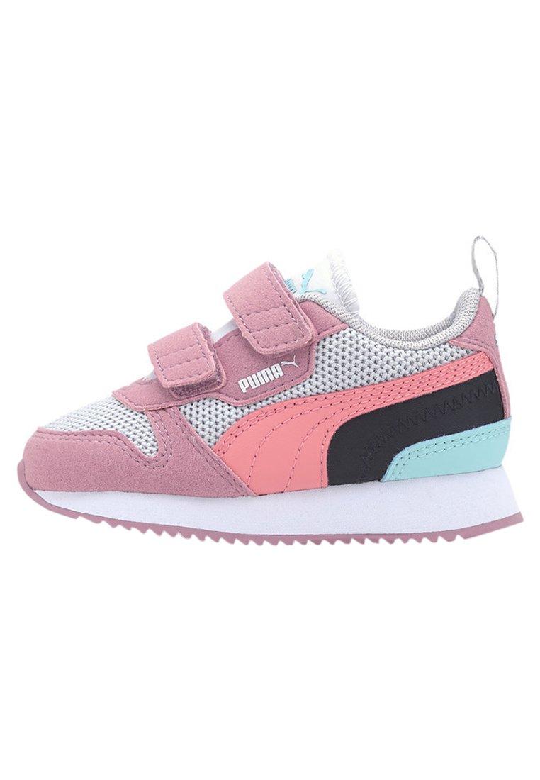 Baby shoes - gray -salmon rose-foxglove