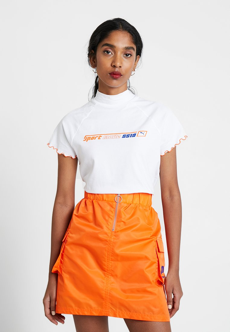 Puma - HIGH NECK TEE - T-Shirt print - white