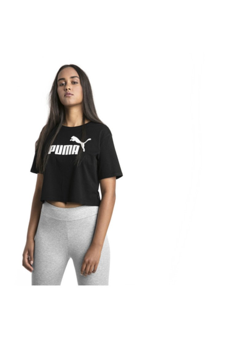 Puma - ESSENTIALS CROPPED TEE - T-shirt con stampa - black