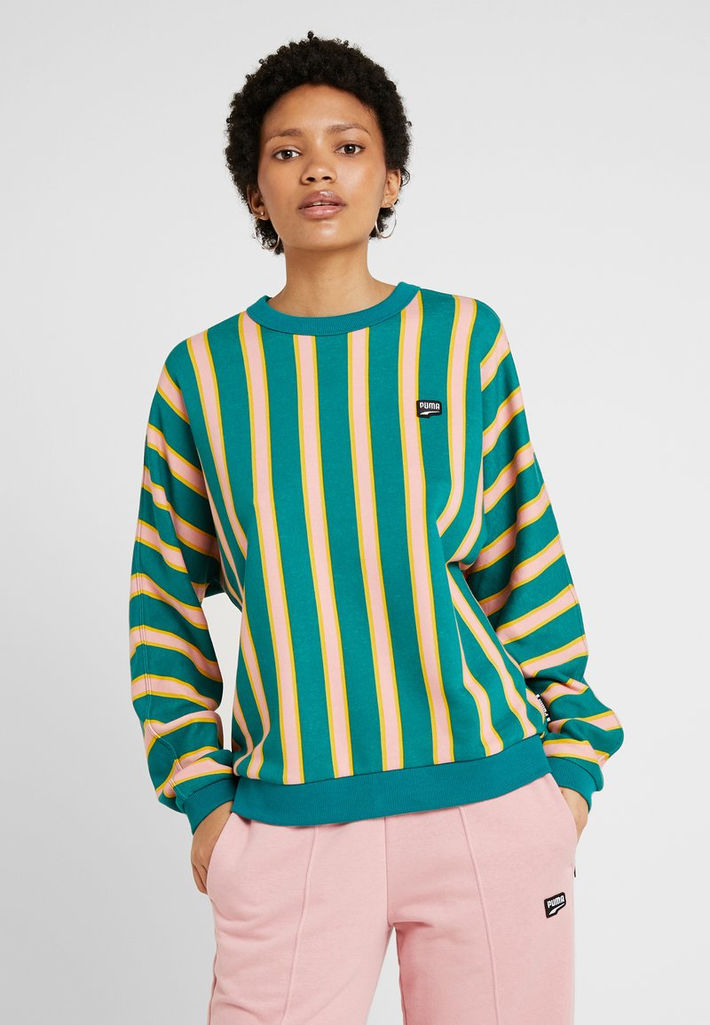 CrewSweatshirt Stripe Green Puma Downtown Teal 53ARjL4
