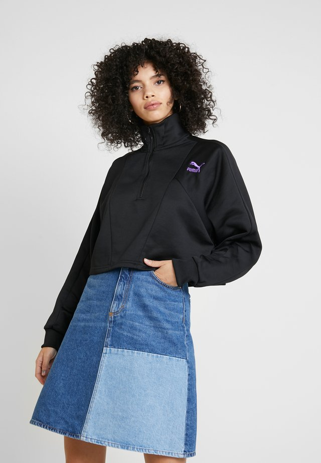 CROPPED HALF ZIP - Felpa - black