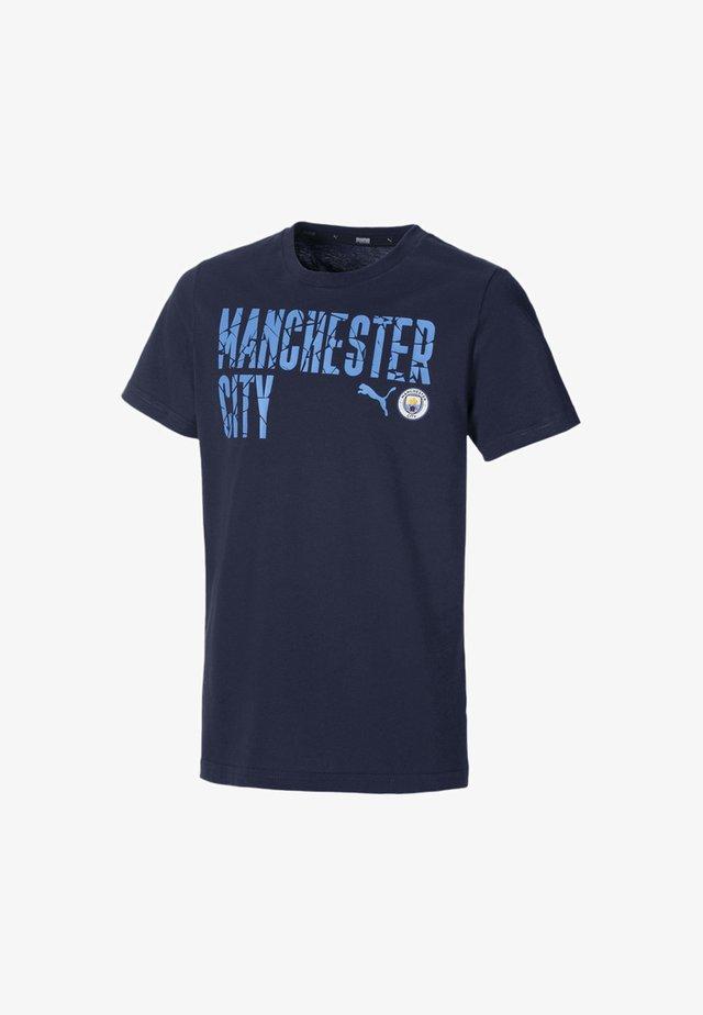 CITY FTBLCORE WORDING YOUTH FOOTBALL  - Print T-shirt - peacoat-team light blue