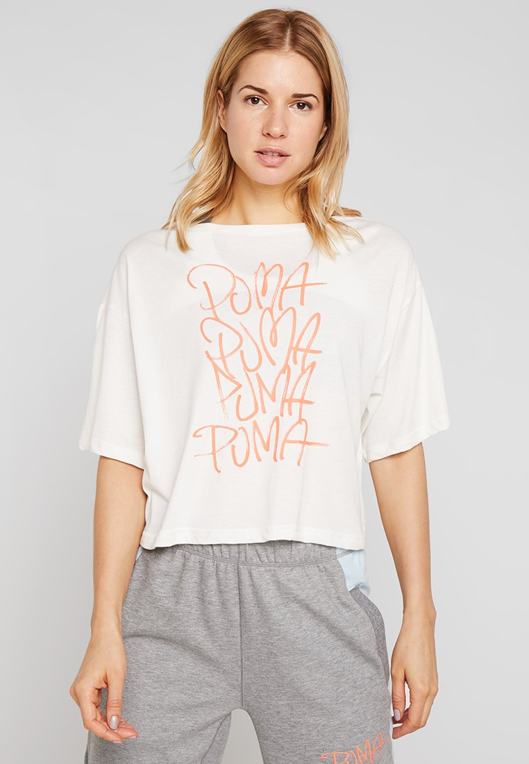 Puma - SWEET LOOSE CROP TEE - T-Shirt print - whisper white