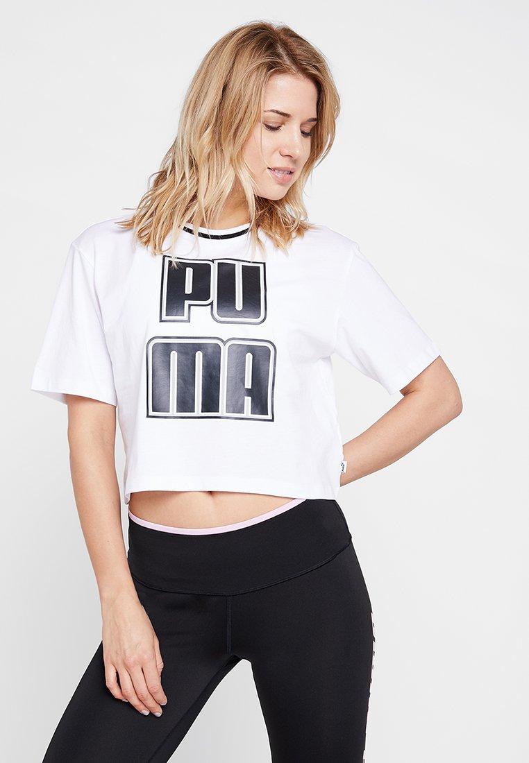 Puma - REBEL RELOAD CROP TEE - T-Shirt print - white