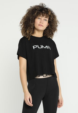 CROPPED LOGO TEE - Print T-shirt - black