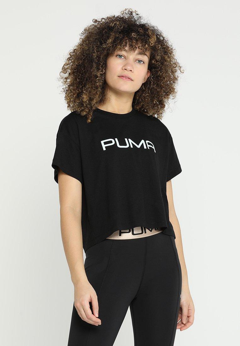 Puma - CROPPED LOGO TEE - Camiseta estampada - black