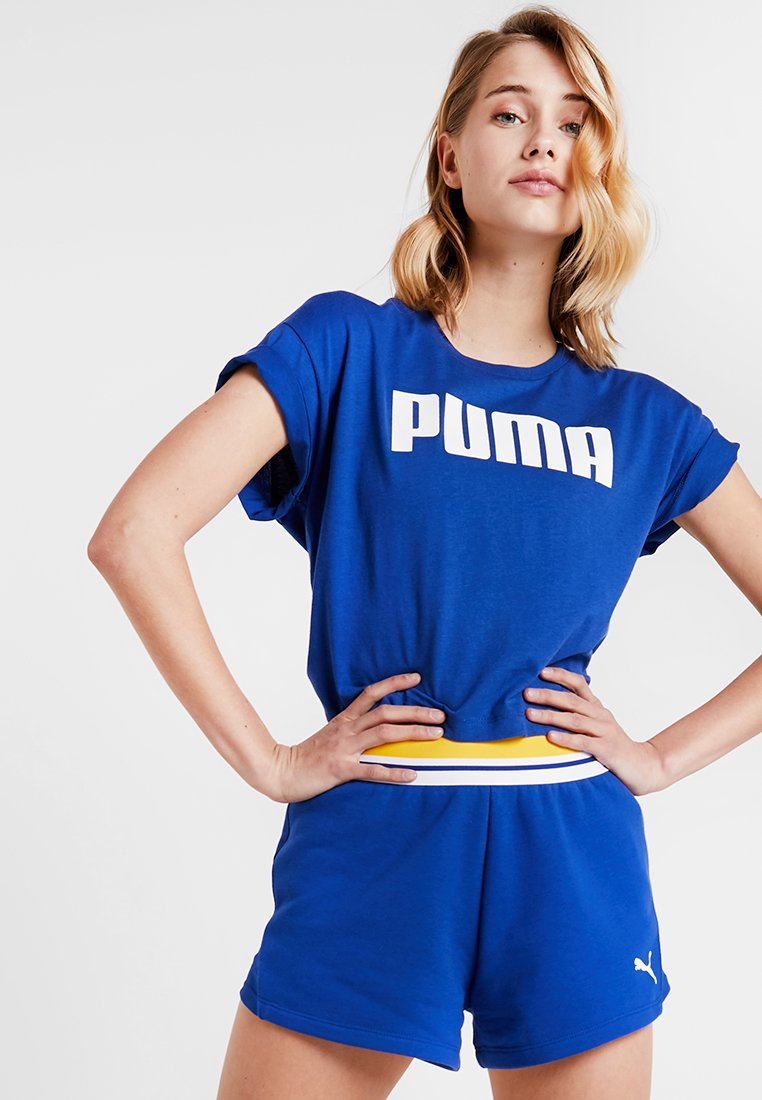 Puma - CROPPED LOGO TEE - Print T-shirt - sodalite blue