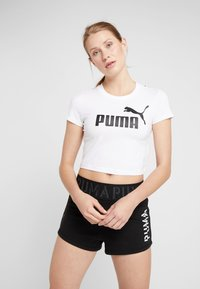 Puma - AMPLIFIED LOGO FITTED TEE - Print T-shirt - white - 0