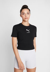 Puma - NU-TILITY FITTED TEE - T-shirt con stampa - black - 0