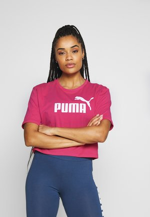 CROPPED LOGO TEE - T-shirts med print - bright rose
