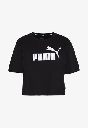 CROPPED LOGO TEE - Print T-shirt - cotton black