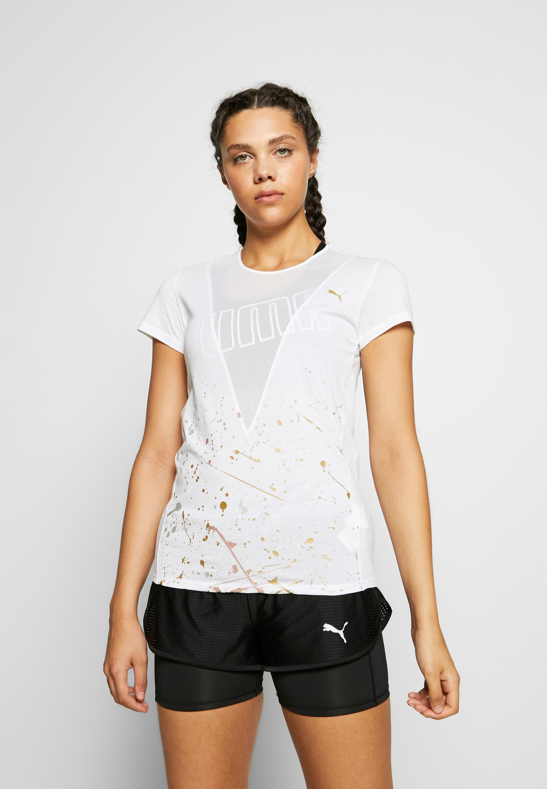 Puma METAL SPLASH DEEP TEE - T-shirts med print - white