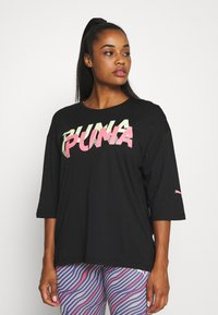 Puma - MODERN SPORTS FASHION TEE - Print T-shirt - black - 0