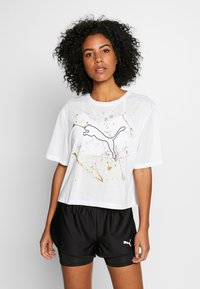 Puma - METAL SPLASH GRAPHIC TEE - Print T-shirt - puma white - 0