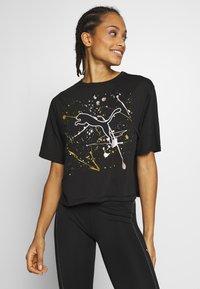 Puma - METAL SPLASH GRAPHIC TEE - Print T-shirt - black - 0