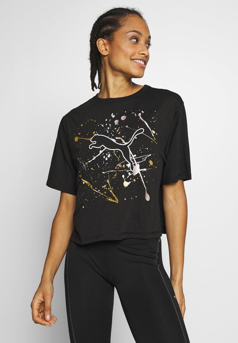 Puma - METAL SPLASH GRAPHIC TEE - Print T-shirt - black