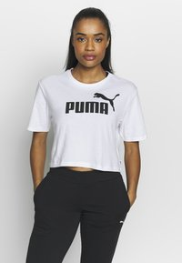 Puma - CROPPED LOGO TEE - T-shirt con stampa - white - 0