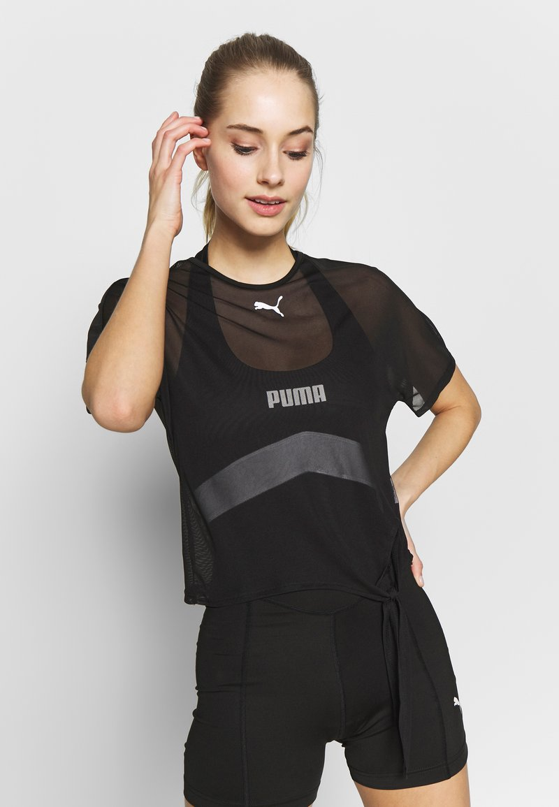 Puma - STUDIO CLASH ACTIVE TEE - Print T-shirt - black
