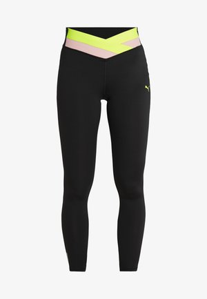 HIT FEEL IT - Legginsy - puma black/pink alert/yellow alert