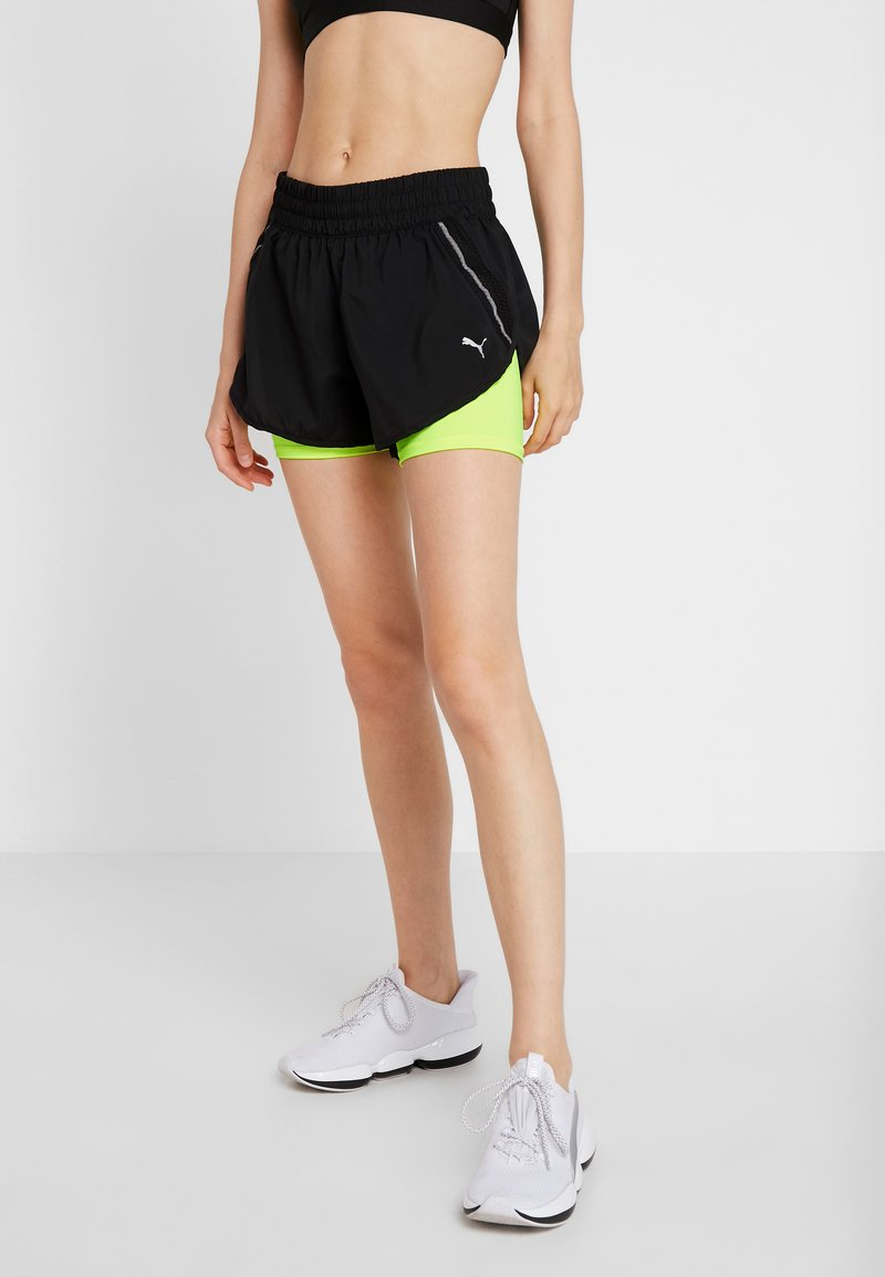 Puma - LAST LAP SHORT - Pantalón corto de deporte - black/yellow alert