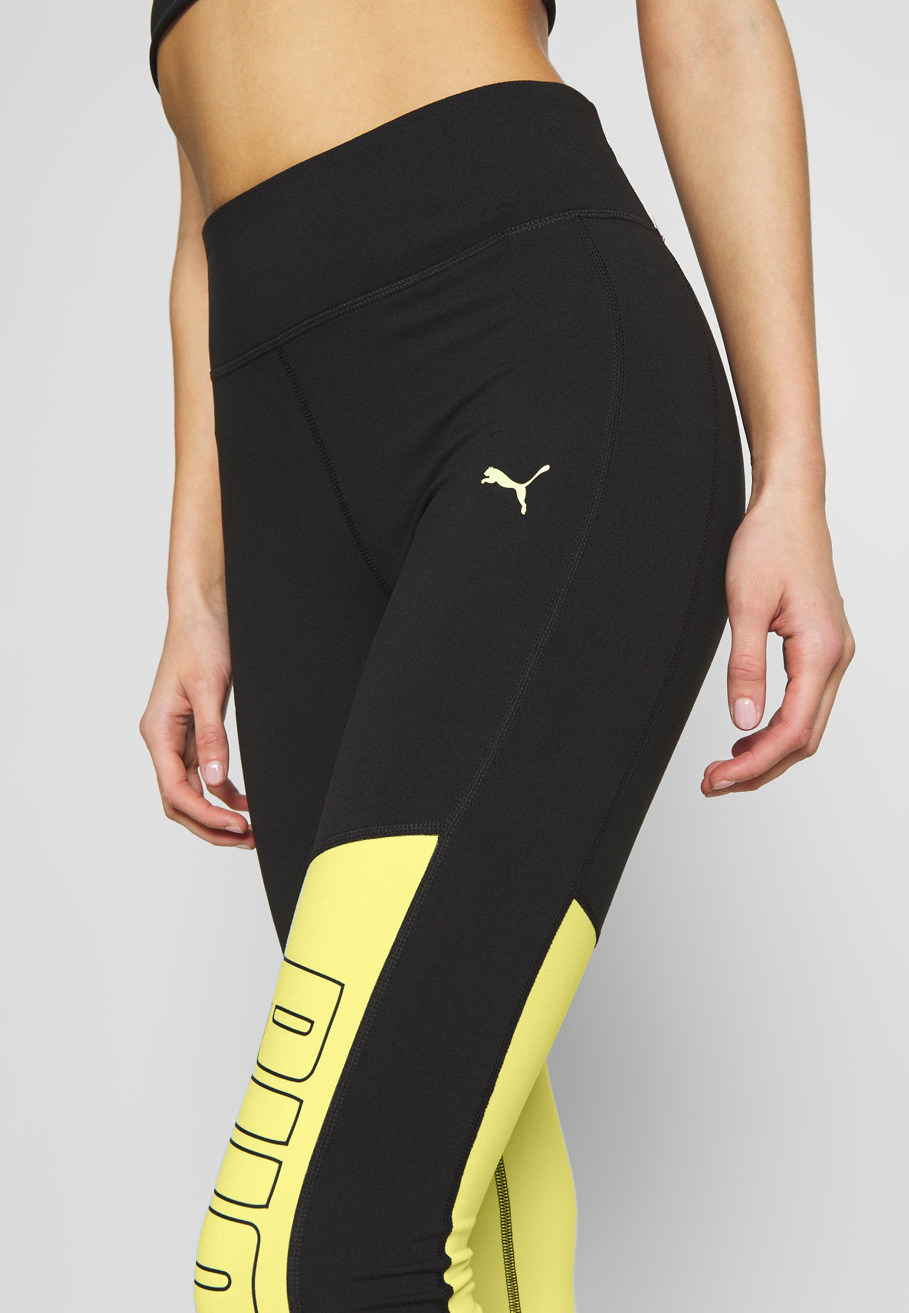 Puma LOGO GRAPHIC Leggings blacksunny lime