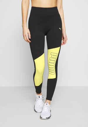 LOGO GRAPHIC  - Legginsy - black/sunny lime