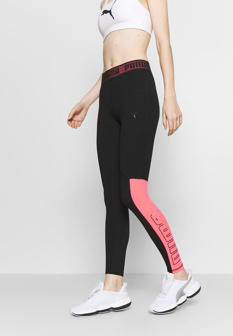 Puma - LOGO - Leggings - black/ignite pink