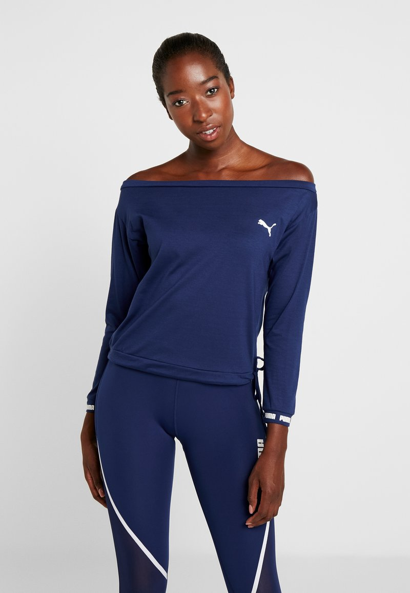 Puma - PAMELA REIF X PUMA OFF SHOULDER SWEAT - Koszulka sportowa - blue depths