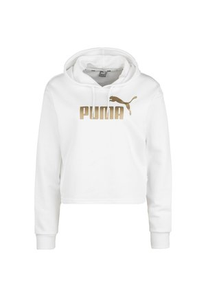 PUMA ESS+ METALLIC CROPPED HOODIE DAMEN - Hoodie - puma white / gold