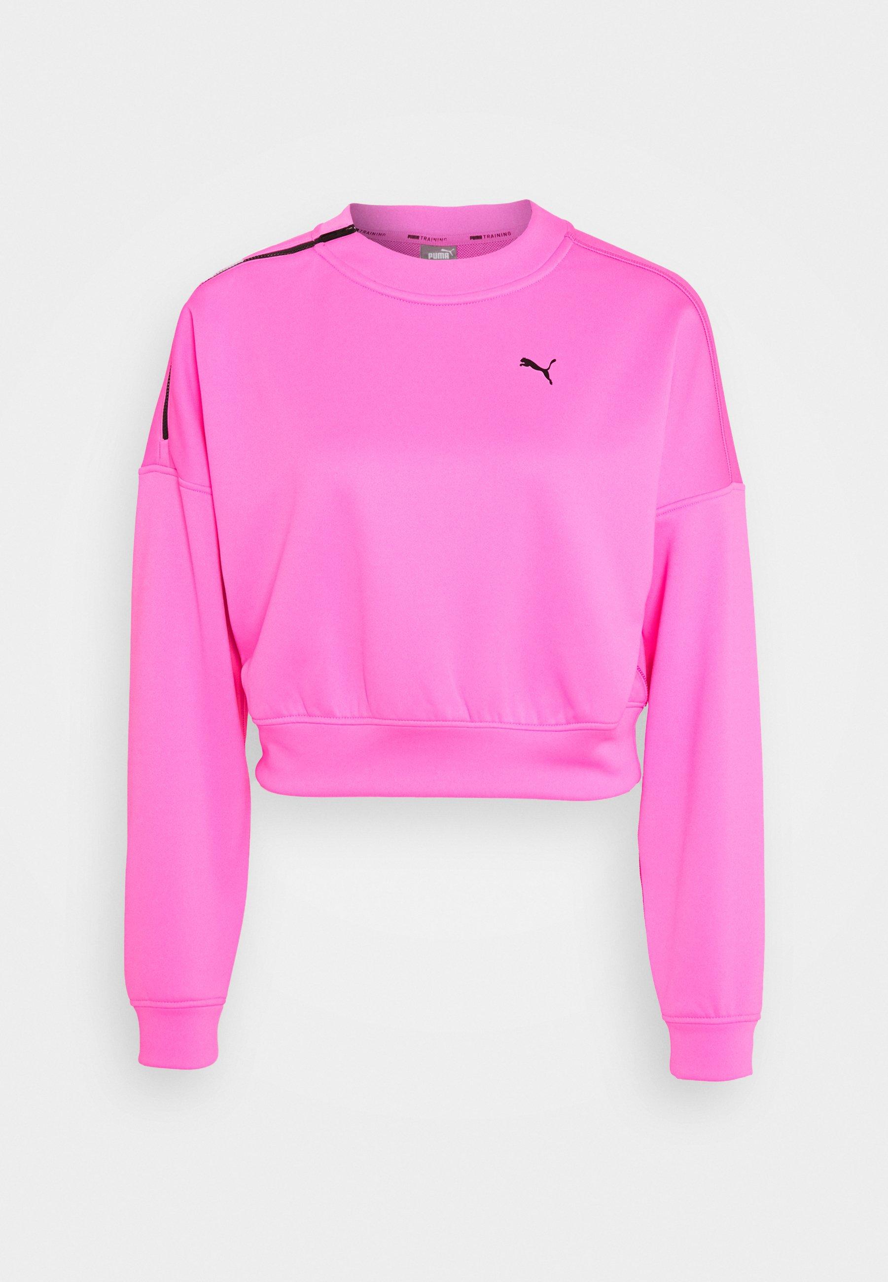 Puma TRAIN BRAVE ZIP CREW Sweatshirt luminous pink