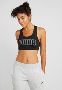 Puma - 4KEEPS BRA - Sports bra - black/white/metallic silver - 0