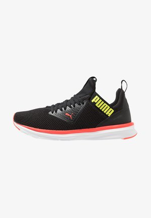ENZO BETA WOVEN - Neutral running shoes - black/nrgy red/yellow alert