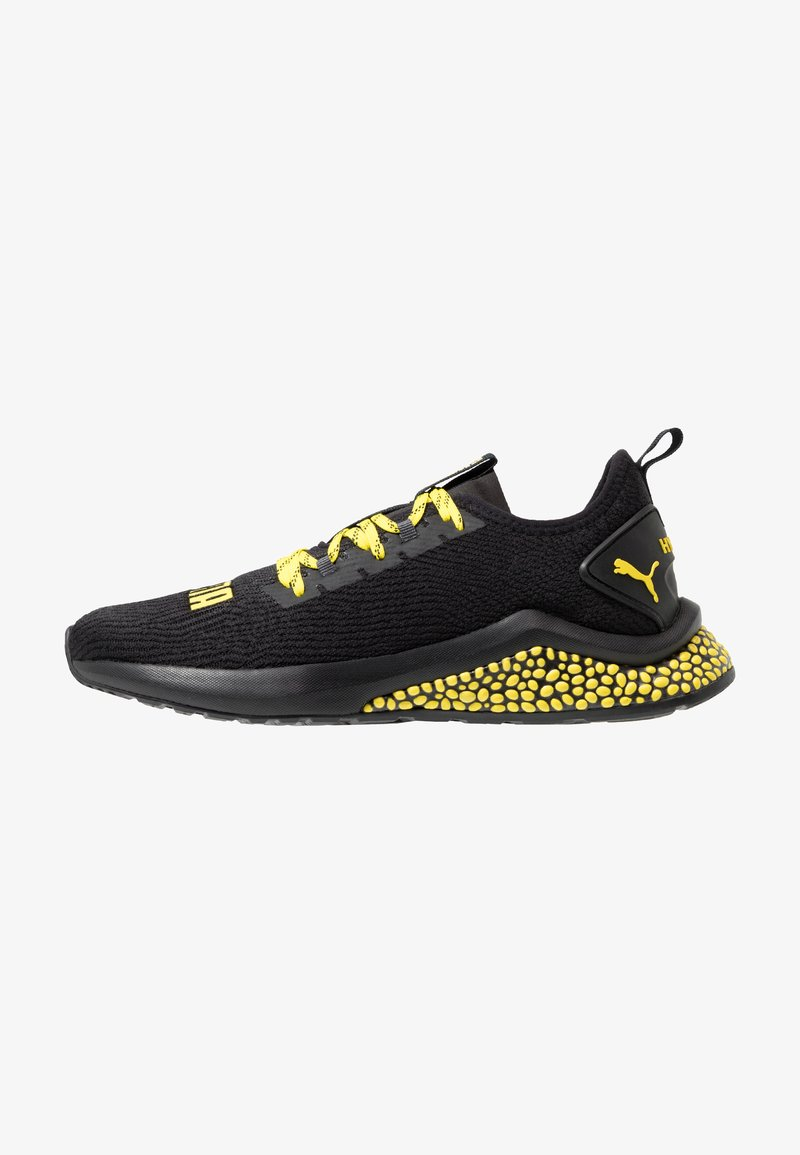 Puma - HYBRID NX CAUTION - Laufschuh Neutral - black/blazing yellow