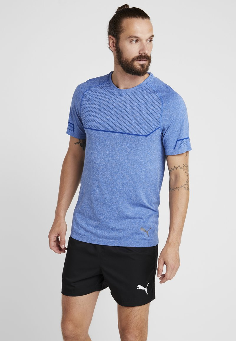 Puma - ENERGY SEAMLESS TEE - T-shirt imprimé - galaxy blue heather