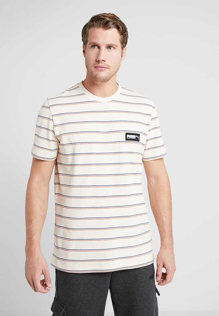 Puma - FUSION STRIPED TEE - Polotričko - white smoke