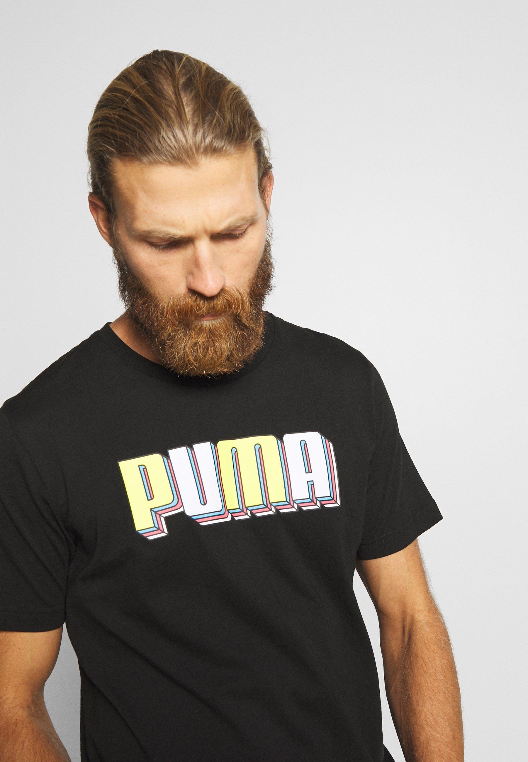 Puma CELEBRATION GRAPHIC TEE - T-shirt z nadrukiem - black