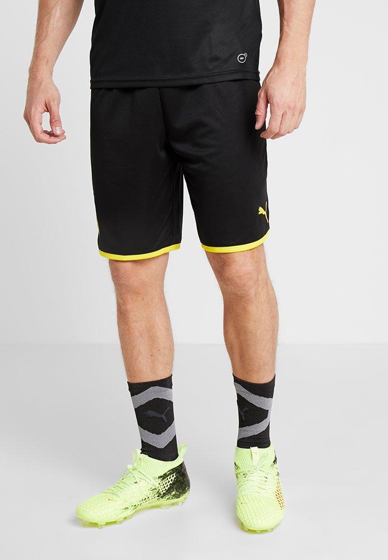 Puma - BVB BORUSSIA DORTMUND SHORTS REPLICA - Krótkie spodenki sportowe - black/cyber yellow