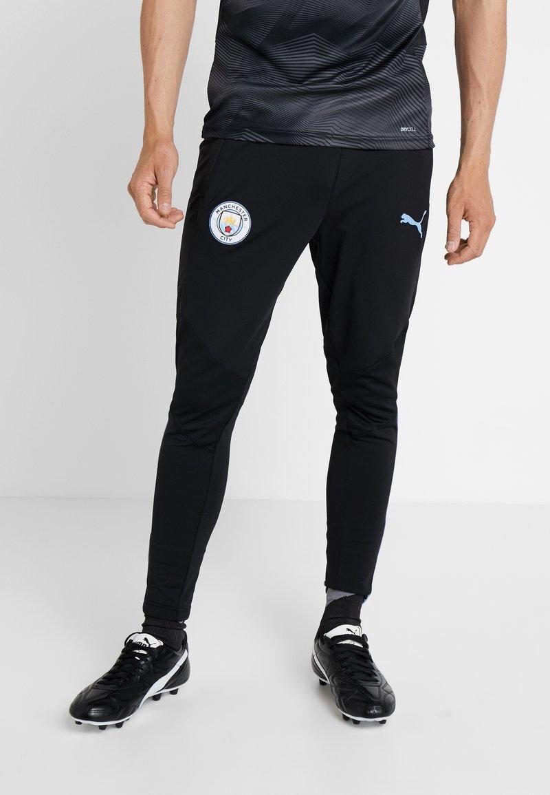 Puma - MANCHESTER CITY TRAINING PANTS PRO WITH ZIPPED POCKETS - Vereinsmannschaften - puma black/team light blue