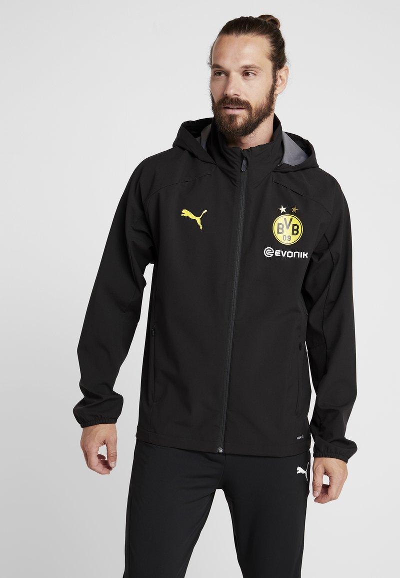Puma - BVB BORUSSIA DORTMUND RAIN JACKET - Fanartikel - puma black/cyber yellow