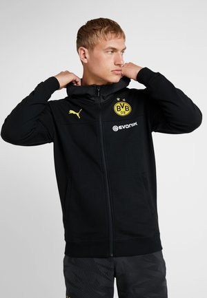 BVB BORUSSIA DORTMUND CASUALS HOODED JACKET WITH LOGO - Equipación de clubes - puma black/phantom black