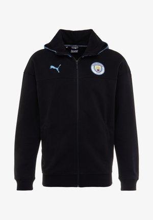 MANCHESTER CITY CASUALS ZIP THRU HOODY - Klubbkläder - black/light blue