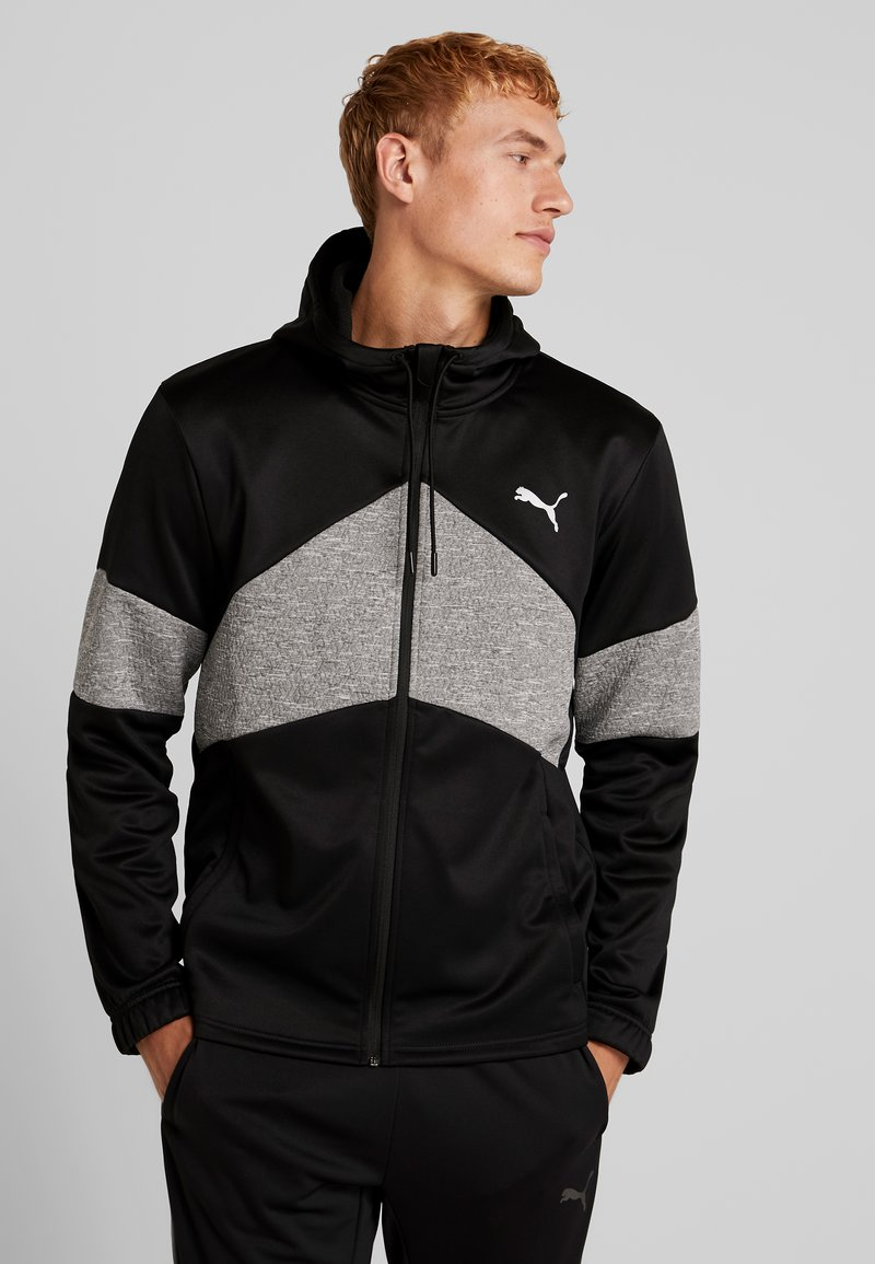 Puma - EXTRACT HOODED JACKET - Huvtröja med dragkedja - black/medium gray heather