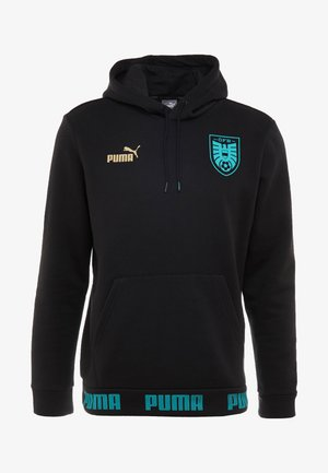 ÖSTERREICH ÖFB CULTURE HOODY - Mikina s kapucí - puma black/blue turquoise