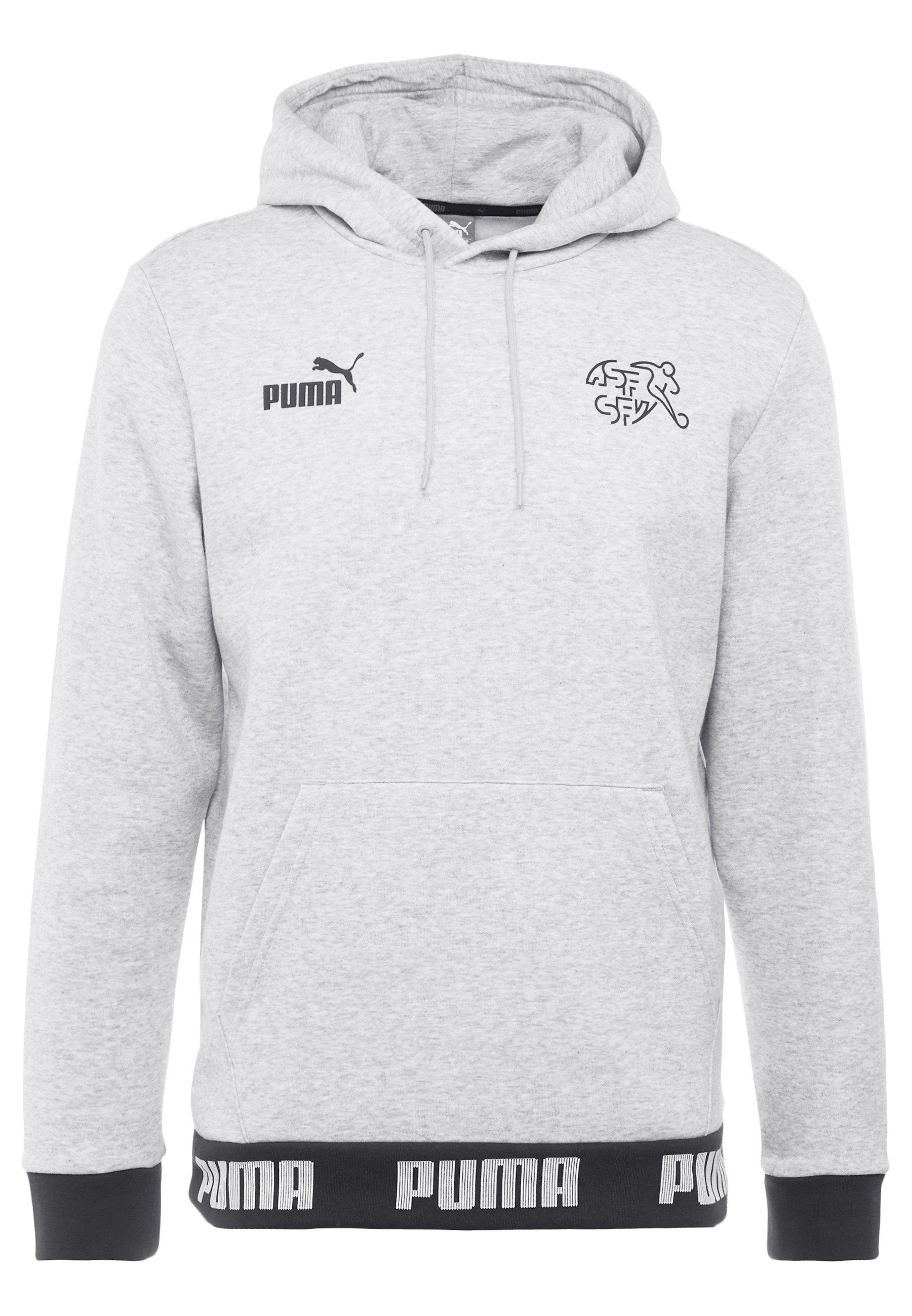 Puma SCHWEIZ SFV CULTURE HOODY - Bluza z kapturem - light gray heather