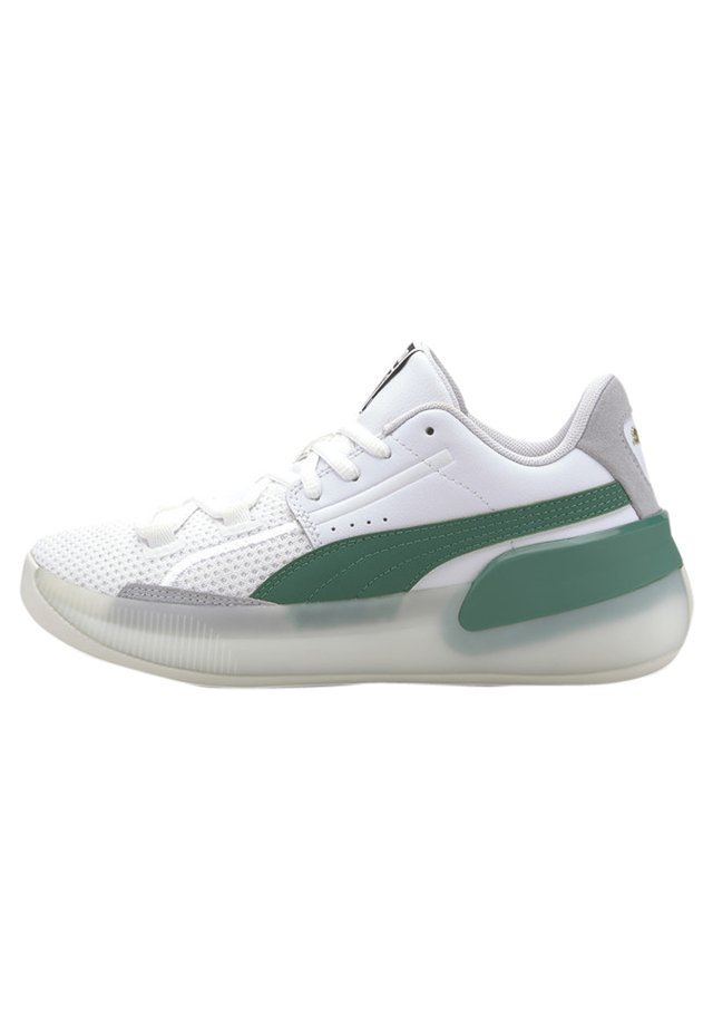 PUMA CLYDE HARDWOOD YOUTH BASKETBALL SHOES UNISEX - Basketball shoes - puma white-power green